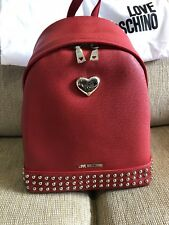 Love Moschino Backpack Red Studded Metal Hearts New With Tags Rare