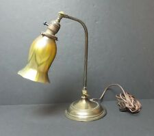 ANTIQUE BRONZE GOOSENECK DESK LAMP, signed QUEZAL PULLED FEATHER ART GLASS SHADE