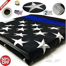 Thin Blue Line Flag 3X5 Ft Embroidered Stars-Sewn Stripes National Usa Made New