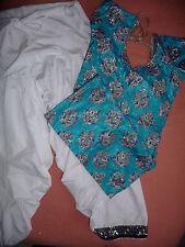 Bollywood COSTUME tunique pantalon et bleu et blanc fait main 10 / 12 ns