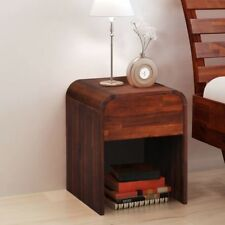 Brown Acacia Wood Furniture Bedside Table 1 Drawer Cabinet Storage Cupboard