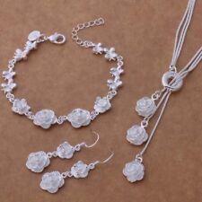 925 Sterling Silver Jewelry Set Women Fashion Bracelet Necklace Earrings Wedding