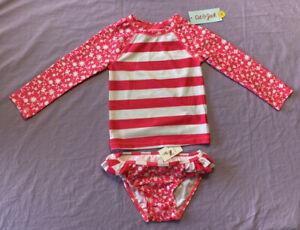Cat & Jack Toddler Girl 2pc Floral Print Long Sleeve Rash Guard Pink Size 3T