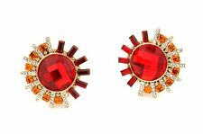 Zest Swarovski Crystal Statement Clip-On Earrings Red and Orange