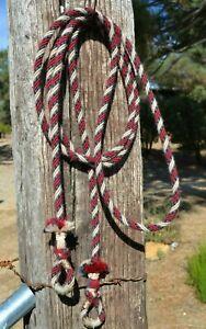 """3/8"""" Alpaca Hair Loop / Roping / Trail Reins 6 St x 10 ft- Tan, Burgundy, Grey"""