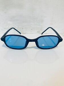 90's Slim Rectangular Men's/ Unisex Deadstock Black with Blue Lens Sunglasses