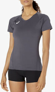 ASICS Women's Spin Serve Volleyball Jersey Long Sleeve Size Small Steel Gray