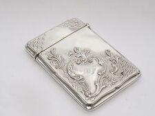 Exquise antique art nouveau solid sterling silver card case birmingham 1919