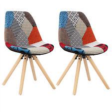 2 x Esszimmerstühle Küchenstuhl mit Rückenlehne Holz Leinen mehrfarbig BH52mf-2