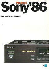 Sony 1986 - Der Tuner ST-S 444 ES II  / Katalog Prospekt Brochure