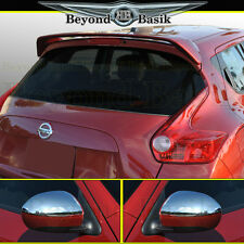 For NISSAN JUKE Factory Style Spoiler + Top Half Chrome Mirror Covers Overlays