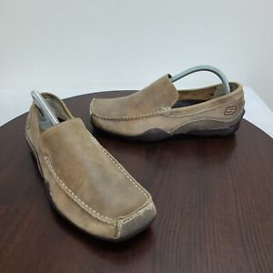 Skechers Mens 8.5 Leather Loafers Tan Slip On Driving Shoes Phoenix
