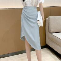Fashion Women's High Waisted Ruched Irregular Bodycon Business Midi Pencil Skirt