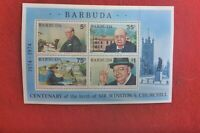 PAIR OF  CENT BIRTH SIR WINSTON CHURCHILL MINI SHEET MUH BARBUDA