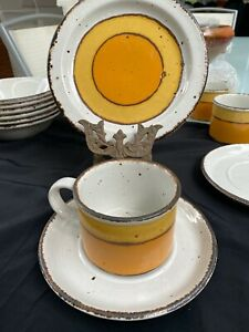 RETRO MIDWINTER STONEHENGE SUN TRIO CUP SAUCER AND SIDE PLATE