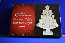 NEW Christmas 10 LED White Wooden Table Top Tree Light Christmas Holidays