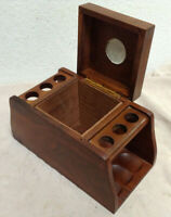 Vintage Wood Pipe Rack With Tobacco Box Walnut - Fairfax Holds 6 Pipes Wooden