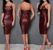 Sexy Maroon Faux Leather Look Bodycon Dress Criss Cross Front Back Zip
