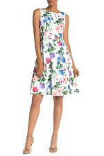 Calvin Klein NWT Exquisite WHITE MULTI Floral Fit & Flare Dress Plus size 18W
