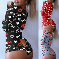 Women Heart Printed Long Sleeve Nightwear Jumpsuit Bodysuit Playsuit Romper