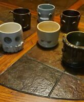 Lot of 6 Artist  Handmade Pottery Coffee Tea without Handle Glazed Ceramic Mugs