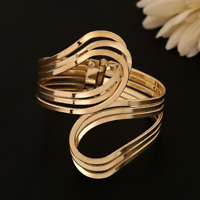 Fashion Charm Women Gold Twist Bangle Cuff Wide Bracelet Wristband Punk Jewelry