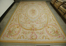 11.9' X 16.3' Stunning Aubusson Floral Valley Decor Rug Handmade Huge Gold Beige