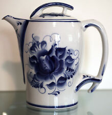 Gzhel tea pot thermo porcelain handmade, double walls, used