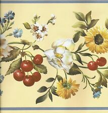 Country Floral with Cherries, Berries on Yellow WALLPAPER BORDER