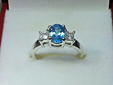 BLUE TOPAZ & CUBIC ZIRCONIA RING 10 kt.WHITE GOLD FINE QUALITY