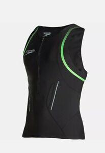 Speedo Comp E16 Tri Singlet Size - SMALL BLACK/GREEN