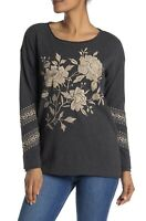 Johnny Was Floral Embroidered Gray Thermal Top Womens Size Large