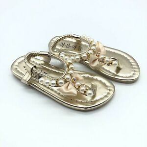 Toddler Girls Sandals Faux Leather Thong Pearl Rhinestones Gold Size 24 US 8