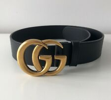 AUTHENTIC Gucci Black Leather Belt with Double G Buckle 75cm