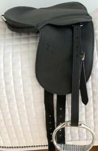 "9"" Black Complete Saddle (Med~Lg) Rocking Horse w/Billets Leathers Irons"