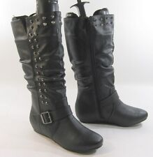 "new Blacks 1.5""hidden wedge heel side spike round toe sexy mid-calf boot Size  6"