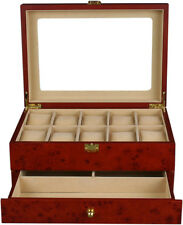 Top Quality Wooden Burlwood Matte Finish Watch Case Display Box WC10+3YL