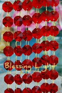 Red - Lead Glass Crystal - Octagon Chandelier - Prisms Chains