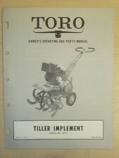 Toro Tiller Owners, Operating And Parts Manual Implement Model # 38121