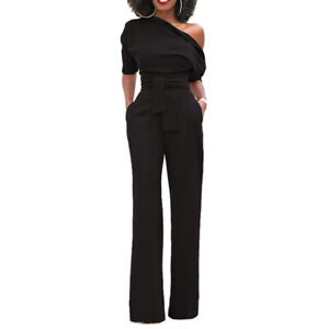 Women One Shoulder Jumpsuits Wide Leg High Waisted Work Romper Pants With Belt