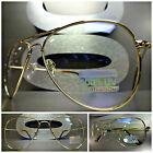 CLASSIC VINTAGE 80's RETRO Style Clear Lens EYE GLASSES Gold Metal Fashion Frame