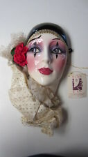 Clay Art Mask with Black Scarf Hat, Rose on Ear & Ruffle Collar w/ Original Tag