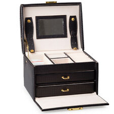 Black Leather Jewelry Box Lockable Jewelry Case with Mirror and Storage Drawers