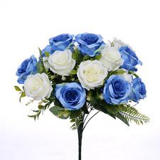 Abrir rosal 18 Flores Artificiales Boda Memorial Jardín de Casa Azul/Marfil
