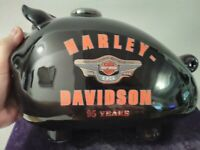 "Vtg Harley Davidson 95th Anniversary Black Piggy Bank 10"" Long"