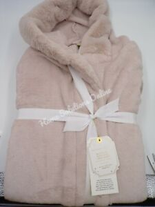 Pottery Barn Faux-Bunny Fur Trim Hooded Robe One Size Powdered Blush #9120