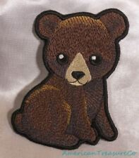 "Embroidered Adorable Woodland Brown Baby Bear Cub 4.5"" Patch Iron On Sew On USA"