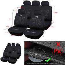 Black Universal Car Seat Cover Full Set Front Rear Seat Cushion Mat Protector