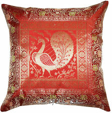 """17"""" Red Cushion Pillow Cover Peacock Silk Brocade Indian Throw Ethnic Decorative"""