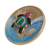 Germania 2019 5 Mark Oak Leaf - Bejeweled Tortoise 1 Oz Silbermünze